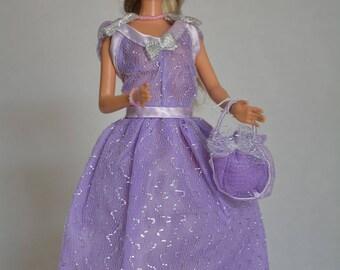 Short dress in silver tulle (B135)