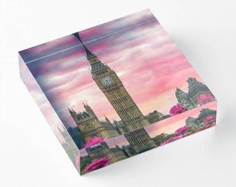 London Big Ben Pink - Acrylic Block - BalazsRomsics 4 x4 / 6 x 6 Home decor