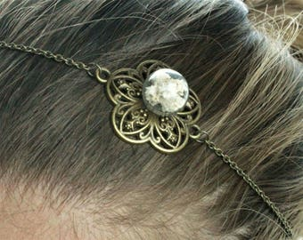 Bronze headpiece, flower Headband, plant and glass