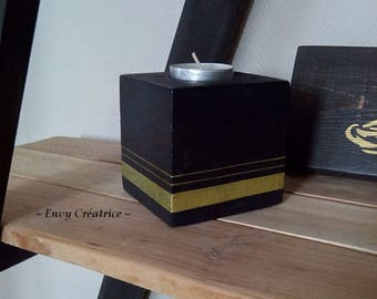 Candlestick cube black palette and stripes gold