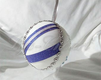 Ball 10 cm for Christmas tree, blue and silver tones