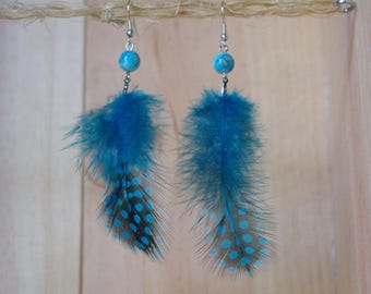 Feather earrings with turquoise dots - By Lily Creart'