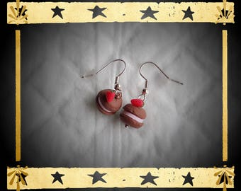 Chocolate macaroons and its tiny Strawberry on silver plated earrings