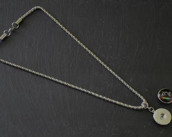 Popcorn support Cabochon snap 18-20mm stainless steel mesh necklace