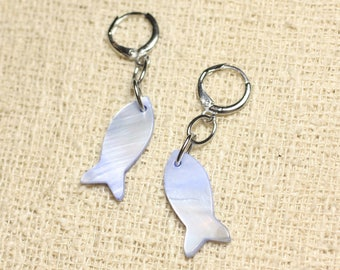 Fish 23mm Pastel Blue Pearl Earrings