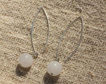 Silver 925 40mm - 10mm White Jade earrings