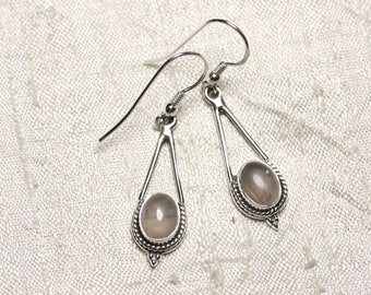 BO212 - earrings 925 sterling silver and stone drops 30mm Rose Quartz
