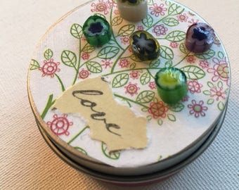 Whimsy Tin~ Glass beads