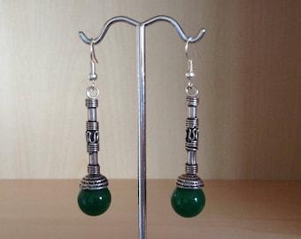 Green agate color glass bead earrings
