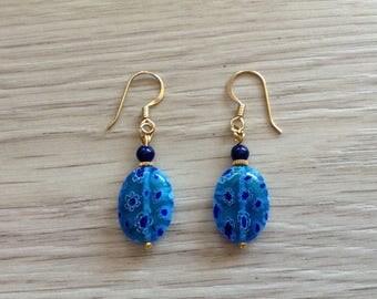 Millefiori very on gold Stud Earrings