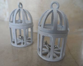 set of 2 3D bird cage charms