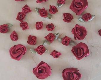 set of 28 appliques flowers Burgundy satin
