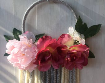 Handcrafted Love in Full Bloom Floral Hoop Wall Decor