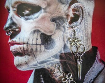 """Silver steampunk earrings """"Edward Scissorhands"""""""
