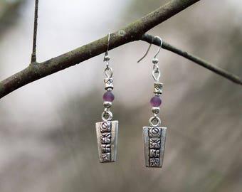 Earrings silver, Mayan glyphs beads
