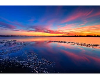 Multi-colored Sunset Reflected In Water - Sunset Photo Print - Landscape Poster Art - Scenic Artwork