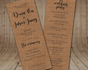 Kraft Paper Wedding Program - Physical