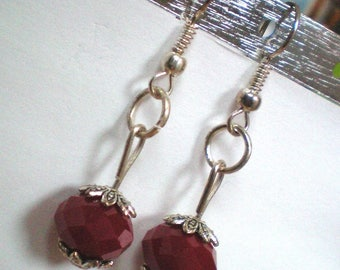 Pearl Earrings in Ruby red glass - 8 mm - caps, silver - non allergic posts