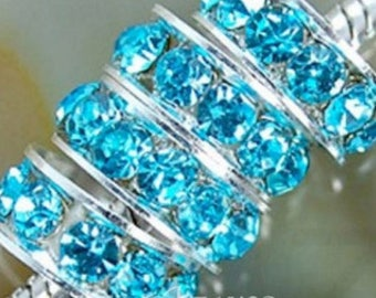10 rhinestone spacer 8mm blue Turquoise rondelle silver beads