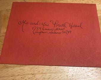 Hand-lettered invitations, envelopes, wedding invitations, address