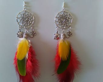 Natural Parrot feathers dream catcher earrings