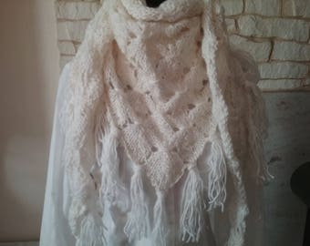 Hand made mohair knitted scarf / shawl