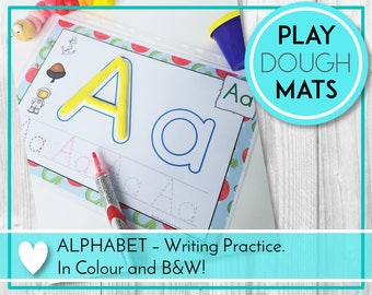 Alphabet Play Dough Mats, Play Doh, Writing, ABC Printables, Preschool & Kindergarten Learning, Teaching Education Resource, Kids Activities