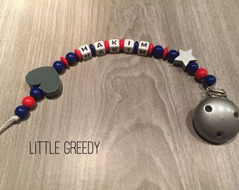 Dark blue and red heart personalized pacifier
