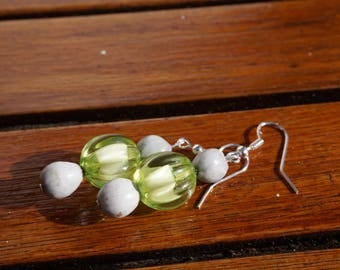 Green Stud Earrings with job's tears and transparent synthetic beads