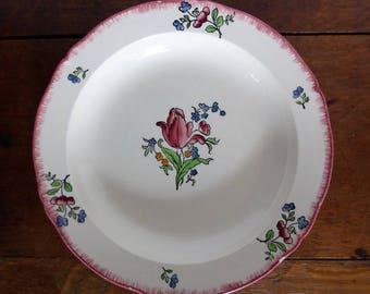 Grande assiette, plat en faïence de Gien modèle Lorraine, vaisselle vintage