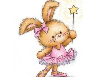 Wild Rose Studio Bunny ballerina new clear stamp