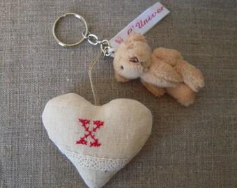 -Key heart, initial X, cross-stitched