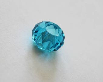 2 x beads - 8 * 14MM - color blue glass