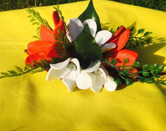 Large clip with frangipani and tiare flower