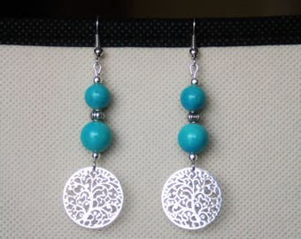 Turquoise earrings with silver charm