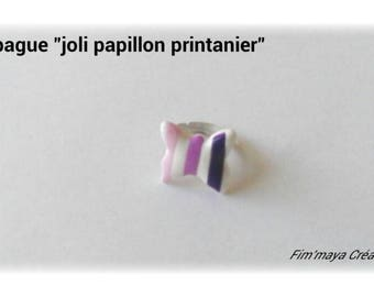 """spring Butterfly"" pink, purple and white ring"