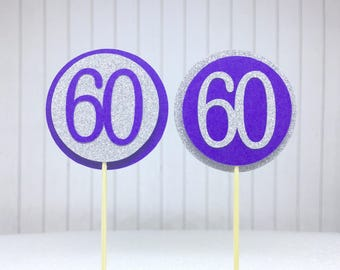 "60th Birthday Cupcake Toppers - Silver Glitter & Violet Purple ""60"" - Set of 12 - Elegant Cake Cupcake Age Topper Picks Party Decorations"