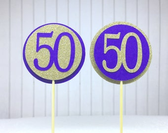 "50th Birthday Cupcake Toppers - Gold Glitter & Violet Purple ""50"" - Set of 12 - Elegant Cake Cupcake Age Topper Picks Party Decorations"