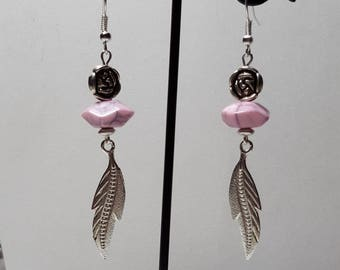 Earrings feather and turquoise howlite octagonal pink