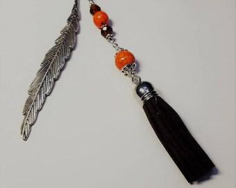 Great bookmark tassel, orange and Brown