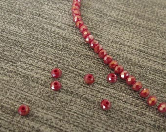 Red x 50 glass beads faceted, 4 X 3 cm, electroplate, Garnet, Burgundy, bright, reflecting 40mm x 30mm