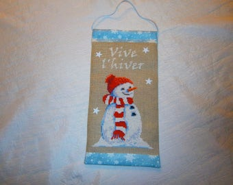 """Banner Christmas embroidered cross-stitch """"It's winter"""""""