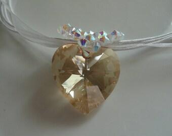 Pendant Golden Shadow Swarovski Crystal heart