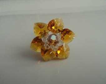Ring Lily Topaz Swarovski Crystal beads