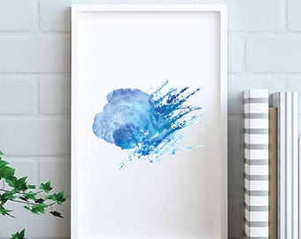 Abstract wall art, abstract art, abstract print, room decor, room art, large print, modern art, modern print, modern wall art, Midnight Blue