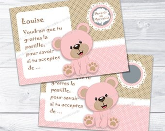 Godmother baptism request card scratch pink bear - christening