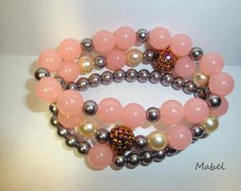 Bracelet 3 rows pink and grey, hematite, rhinestone and Pearl, 3 rows for woman