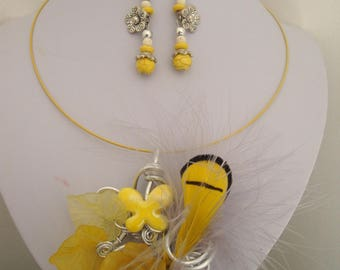 Necklace and earrings yellow, feather, lucite, wedding, summer