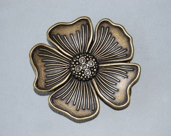 Cute floral bow, antique bronze colored metal.
