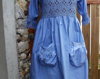 old shabby blue dress, lace
